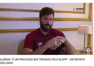 Alisson - Exclusiva Esporte Interativo - 30/05/2019
