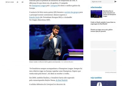 Alisson - Folha de São Paulo - 29/08/2019