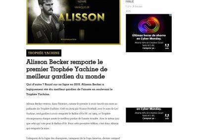 Alisson - France Football - 02/12/2019