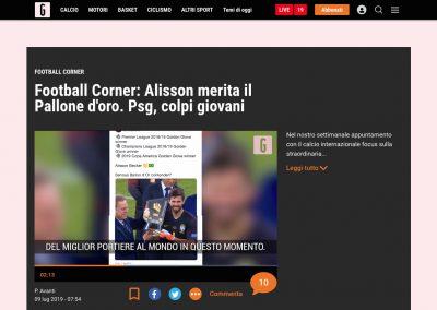 Alisson - Gazzetta Dello Sport - 09/07/2019
