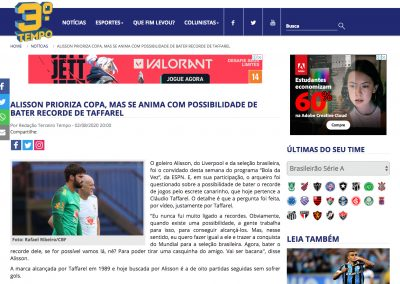 Alisson - Terceiro Tempo - 02/08/2020