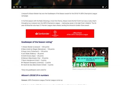 Alisson - UEFA - 29/08/2019